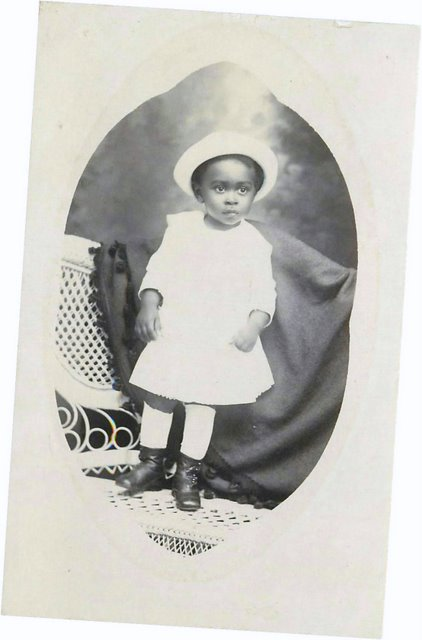 Photo of Black Child in White outfit postcard