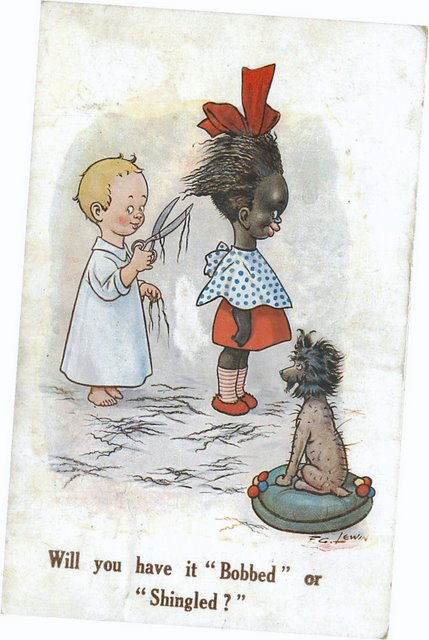Child cutting a black child's hair Signed Lewin postcard