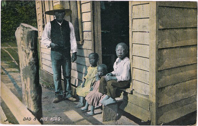 Black Americana Postcard A Black dad and his three kids-No. 158
