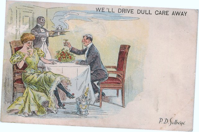 We'll Drive Dull Care Away - Signed P.D. Sullivan postcard
