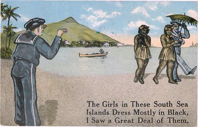 Black Americana Postcard - Sailors with South Sea Black Women