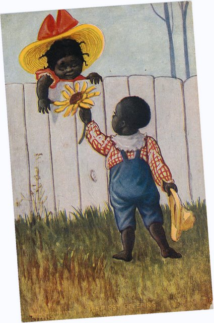 Black Americana Postcard - His First Offering