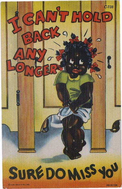 Black Americana Postcard - A Black girl about to pee her pants