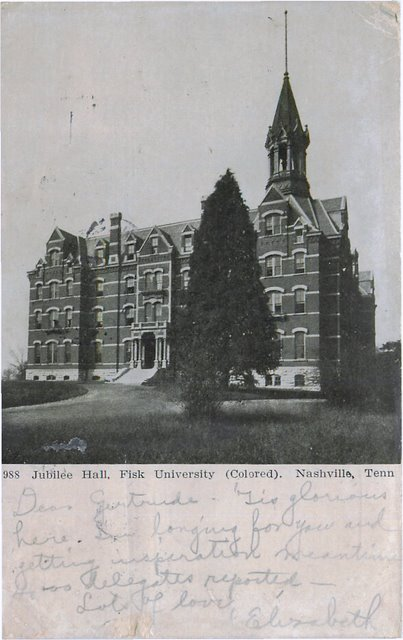 Jubilee Hall, Fisk University (Colores) Nasheville, TN Postcard