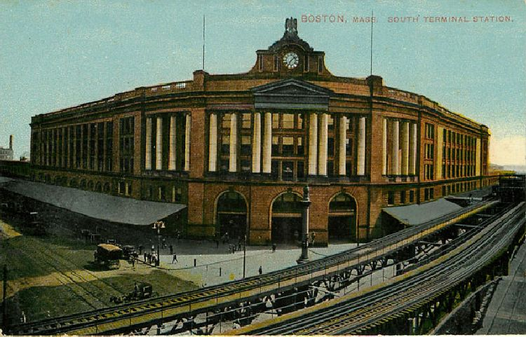 Boston Mass South Terminal Station Postcard