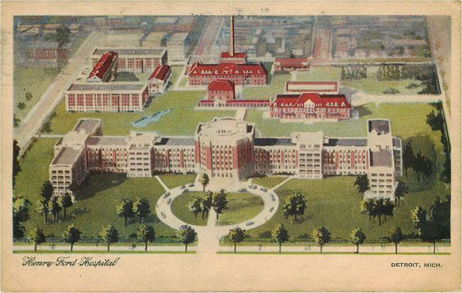 Henry Ford Hospital Detroit Mich - Hospital Postcard