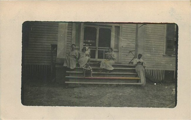 Black Americana Postcard - White Children with Black Slave Woma