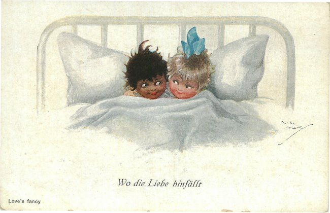 White and Black girls in bed - Love's Fancy postcard