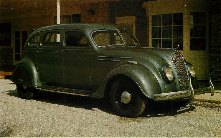 1936 DESOTO AIRFLOW 4 door sedan Classic Car Postcard