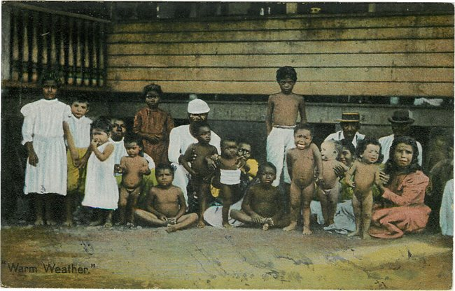 Black Americana Postcard - A group of black children outside