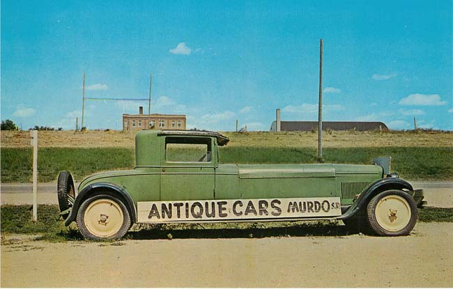 Famous Long Hand Made Green Car Postcard