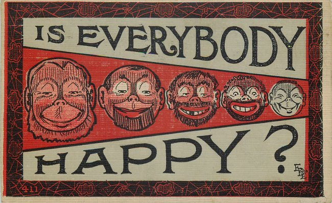 Black Americana Postcard Is Everybody Happy? Ages of Black man