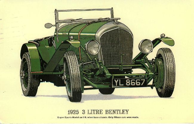 1925 3 Litre Bentley Classic Car Postcard