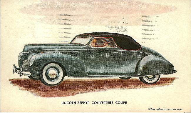 Lincoln-Zephyr Convertible Classic Car Postcard