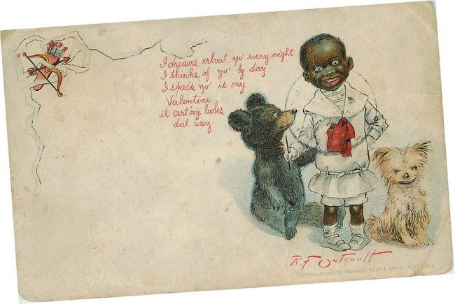 Valentine- Black kid with a bear and dog. postcard