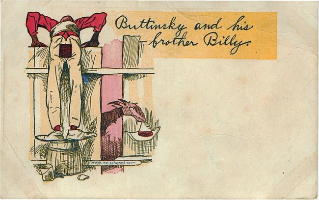 Black Americana Postcard - Buttinsky and his brother Billy
