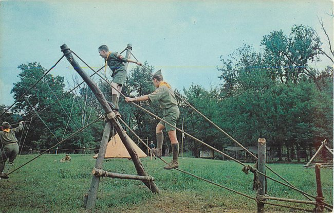 Boy Scouts crossing rope/monkey bridge St Louis Council (copy1)