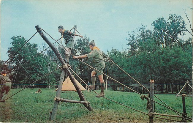 Boy Scouts crossing rope/monkey bridge St Louis Council (copy2)