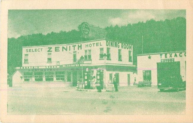 Texaco & Select Zenith Hotel Postcard