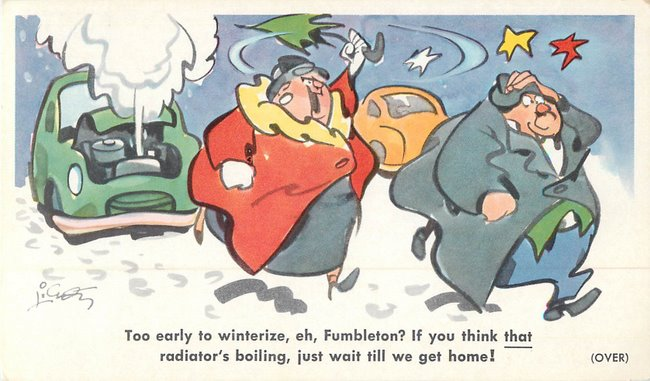 """Too early to winterize?"" cartoon - Postcard"