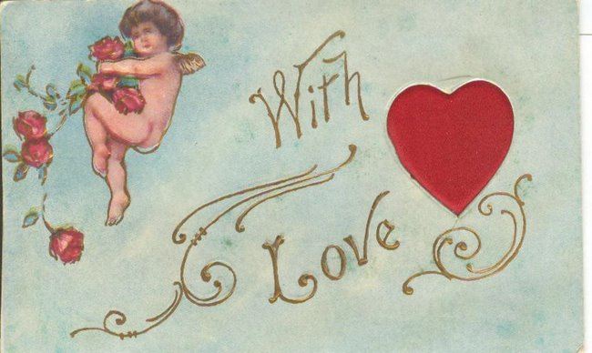 """With Love"" Cherub and silk heart Postcard"