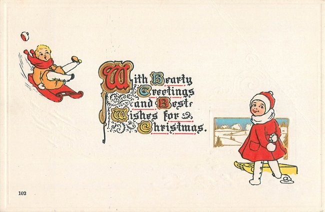 """Best Wishes for Christmas"". Girl & boy w/ sled."