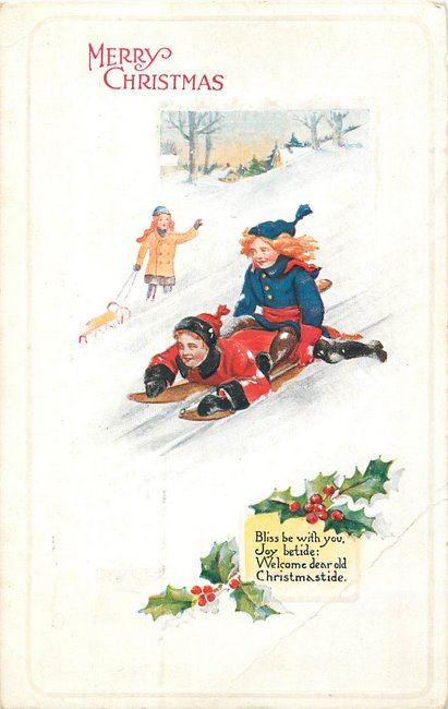 """Merry Christmas"". Children sledding"