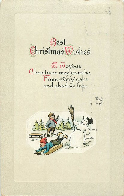 """Christmas Wishes"". Surprised snowman, children sledding"