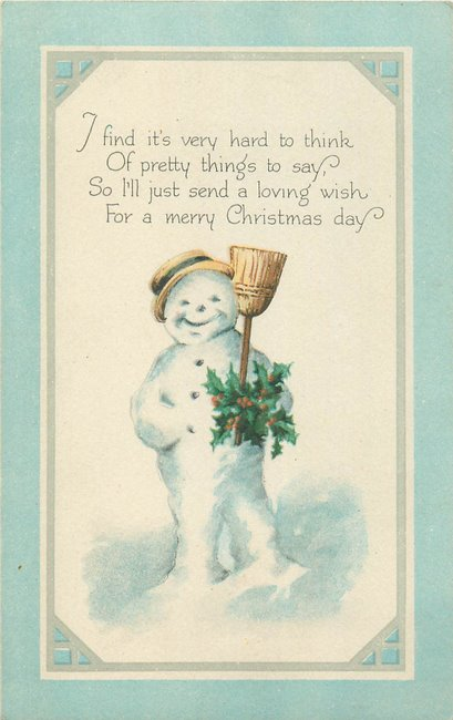 """Merry Christmas"" Snowman w/hat, broom, & holly (copy3)"
