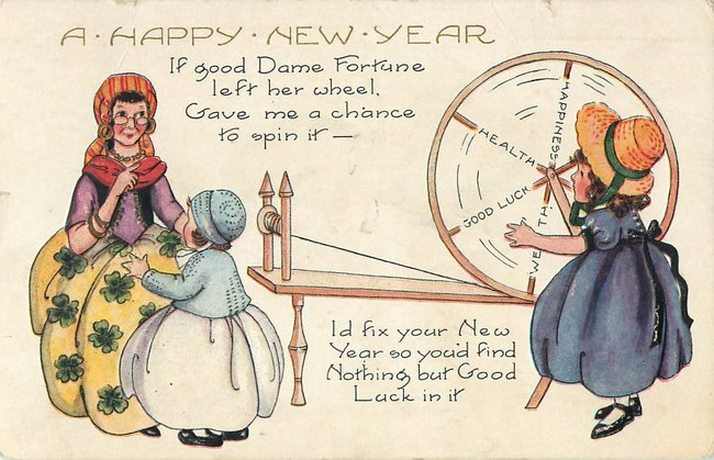 "Dame Fortune spinning wheel ""Happy New Year"""