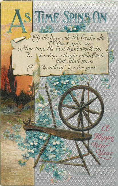"""As Time Spins On"" Spinning wheel ""Happy New Year"""