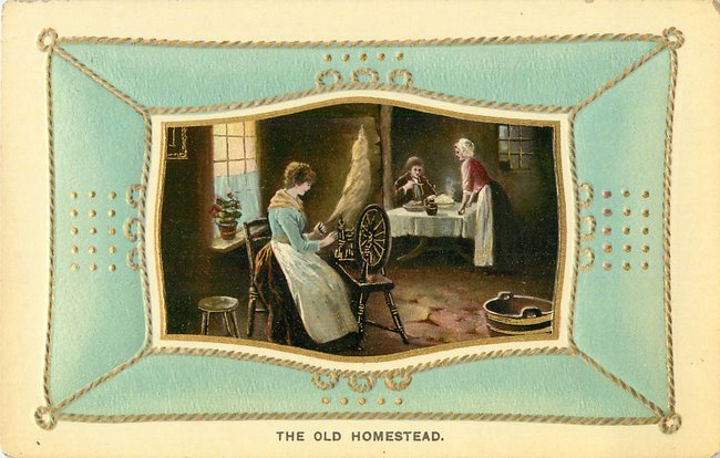 """The Old Homstead"" SPinning wheel & dinning table"