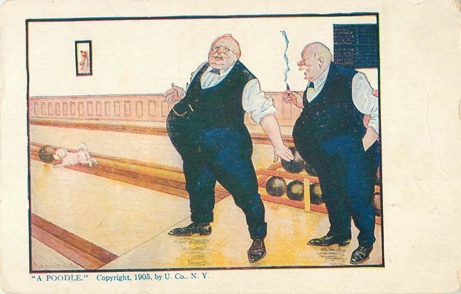 Old men smoking & bowling, poodle chasing ball (copy2)