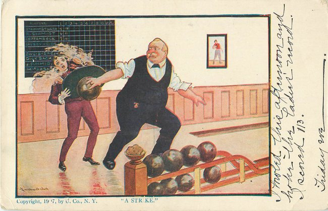 Old man bowling, spilling waiter's tray