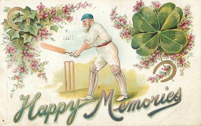 """Happy Memories"" man playing cricket"