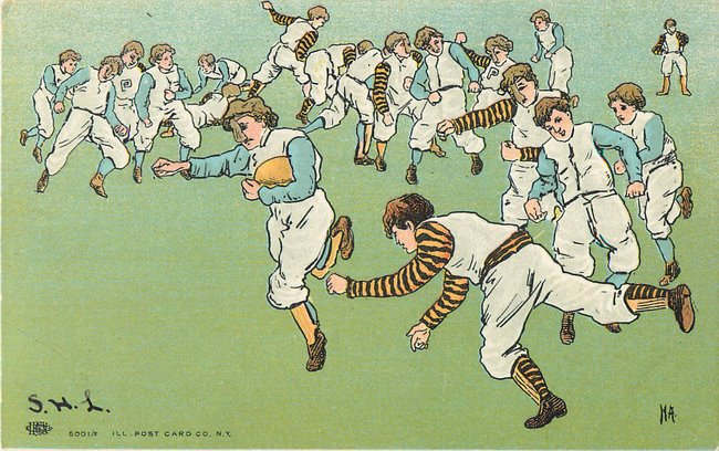 Football Postcard - Drawing of old style football players