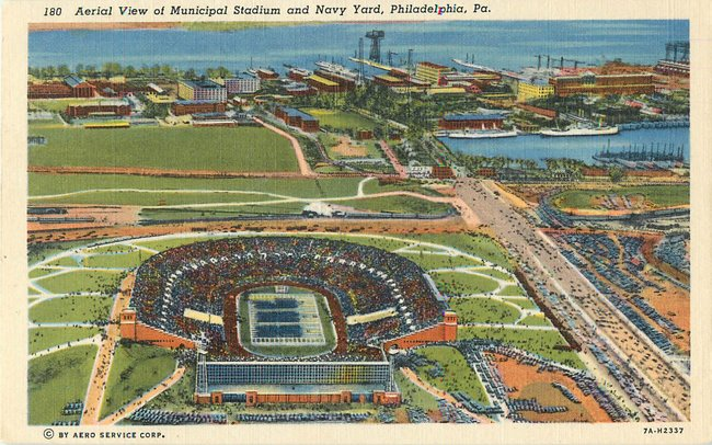 Aerial View of Municipal Stadium and Navy Yard, Philadelpha, Pa
