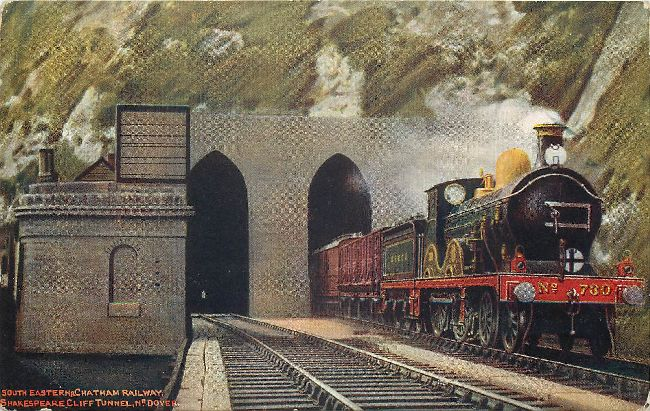 South Eastern & Chatham Railway Shakespear Cliff Tunnel Postcard