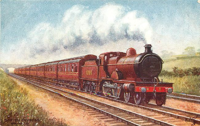 Scotch Express a TUCKS locomotive Postcard