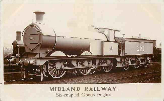 Midland Railway Six Couple Goods Engine Locomotive Postcard