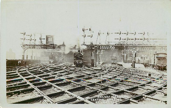Railway Crossing Central Station NewCast Locomotive Postcard