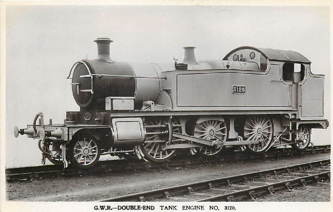 G.W.R. Double Ended Tank Engine No. 3120 Locomotive Postcard