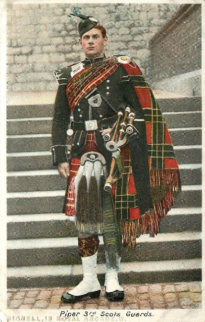 Piper 3rd Scots Guards Postcard