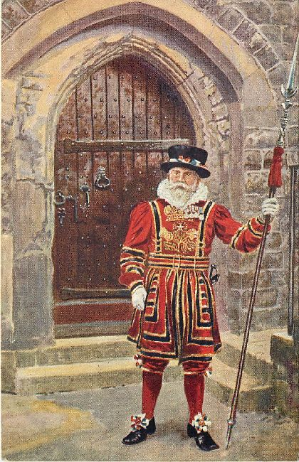 A Yeoman Warder of the Tower Guard Printed at Aldershot Postcard