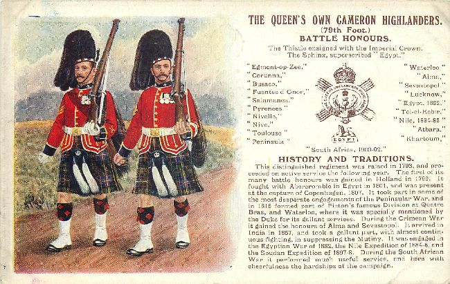 The Queens Own Cameron Highlanders Battle Honours Postcard