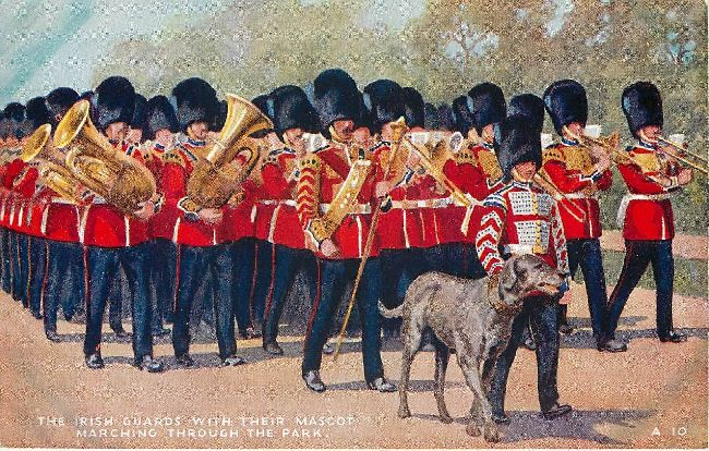 The Irish Guards with their mascot