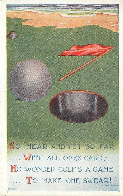 Old Golf Ball Postcard signed by Allan Junior