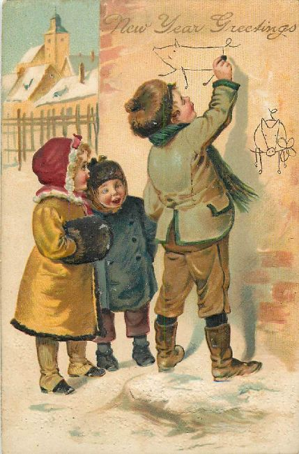 New Year Greetings Postcard Small Children Writing on a Wall