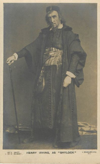 "Henry Irving as ""Shylock"" J.Beagles & Co. Series 191L Postcard"