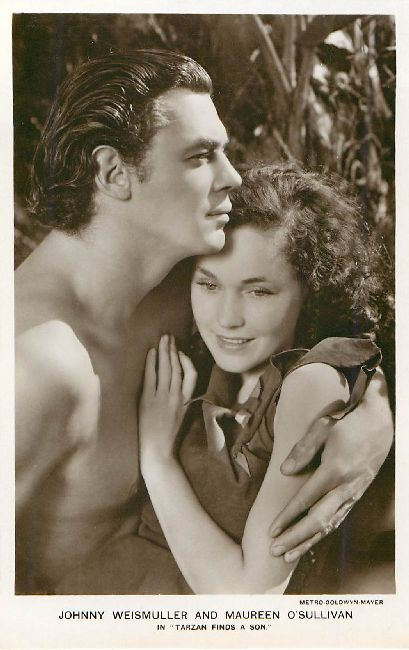 Johnny Weismuller and Maureen O'Sullivan Postcard